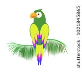 icon of a sitting parrot.... | Shutterstock .eps vector #1021845865