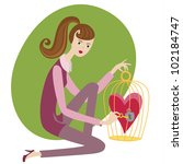 cute girl with a cage and heart | Shutterstock .eps vector #102184747