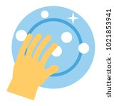 flat icon of a hand washing a... | Shutterstock .eps vector #1021853941