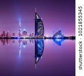 detail of skyscraper reflection.... | Shutterstock . vector #1021855345