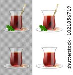 turkish tea cup with black tea  ... | Shutterstock .eps vector #1021856719