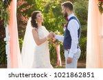 decorated wedding ceremony in...   Shutterstock . vector #1021862851