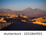 sunset in the moon valley and... | Shutterstock . vector #1021864501
