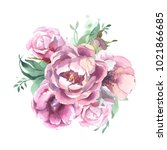 watercolor romantic bouquet of... | Shutterstock . vector #1021866685