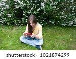 beautiful teenager girl with... | Shutterstock . vector #1021874299