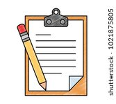 clipboard paper with pencil | Shutterstock .eps vector #1021875805