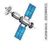 realistic satellite. 3d... | Shutterstock .eps vector #1021886911