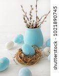 colorful easter eggs and spring ... | Shutterstock . vector #1021890745