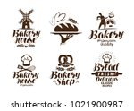 bakery  bakehouse label or logo.... | Shutterstock .eps vector #1021900987