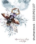 watercolor flying beetle with...
