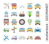 transport flat vector icons... | Shutterstock .eps vector #1021904407