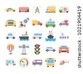 transport vector icons set   | Shutterstock .eps vector #1021904419