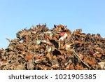 heap of scrap metal ready for... | Shutterstock . vector #1021905385