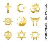 golden world religion symbols.... | Shutterstock .eps vector #1021920637