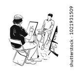stree artist vector... | Shutterstock .eps vector #1021931509