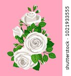 beautiful bouquet with white... | Shutterstock .eps vector #1021933555
