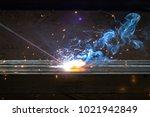 arcing welding iron concept.... | Shutterstock . vector #1021942849