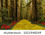 yellow brick road leading... | Shutterstock . vector #1021948249