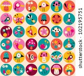 flowers, birds, mushrooms & snails pattern