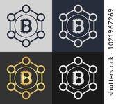 set of bitcoin symbol templates.... | Shutterstock .eps vector #1021967269
