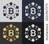 set of bitcoin symbol templates.... | Shutterstock .eps vector #1021967275