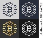 set of bitcoin symbol templates.... | Shutterstock .eps vector #1021967281