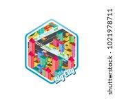 big city isometric real estate...   Shutterstock .eps vector #1021978711