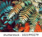 emerald fern leaf digital... | Shutterstock . vector #1021993279