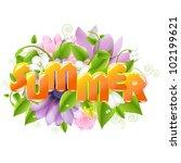 summer illustration with flower ...   Shutterstock . vector #102199621