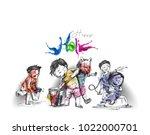 holi celebrations   boy playing ... | Shutterstock .eps vector #1022000701