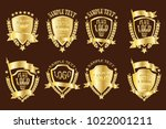 set of golden emblems realistic ... | Shutterstock .eps vector #1022001211