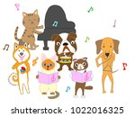 dog and cat concert. dogs and... | Shutterstock .eps vector #1022016325