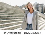 beautiful young caucasian woman ... | Shutterstock . vector #1022032384
