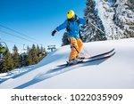 professional freeride skier... | Shutterstock . vector #1022035909