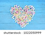 colorful heart shapped... | Shutterstock . vector #1022050999
