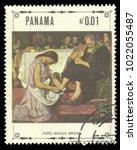 panama   circa 1968  stamp... | Shutterstock . vector #1022055487