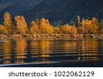 ripple.autumn golden reflection ... | Shutterstock . vector #1022062129