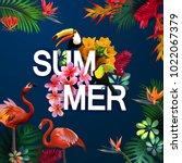 tropical vacation vector banner ...   Shutterstock .eps vector #1022067379