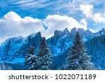 sunny day in the dolomites... | Shutterstock . vector #1022071189