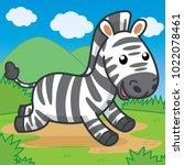 zebra running  cute vector ... | Shutterstock .eps vector #1022078461