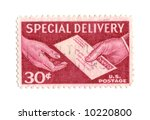 Old postage stamp from USA 30 cent - stock photo
