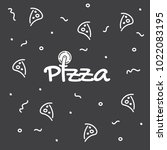 pizza logo with pizza cutter... | Shutterstock .eps vector #1022083195