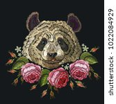 embroidery panda and flowers | Shutterstock .eps vector #1022084929
