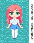 little cute chibi girl vector. | Shutterstock .eps vector #1022089051