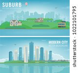city landscape and suburban...   Shutterstock .eps vector #1022101795