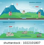 suburban landscape. cityscape... | Shutterstock .eps vector #1022101807