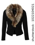 black women's jacket with fake... | Shutterstock . vector #1022104021