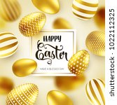 easter golden egg with... | Shutterstock .eps vector #1022112325