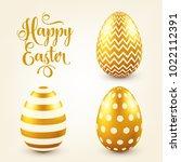 easter golden egg with... | Shutterstock .eps vector #1022112391