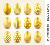 easter golden egg. traditional... | Shutterstock .eps vector #1022112409
